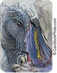 dragon and wizard meeting - illustration for fantasy fairy...
