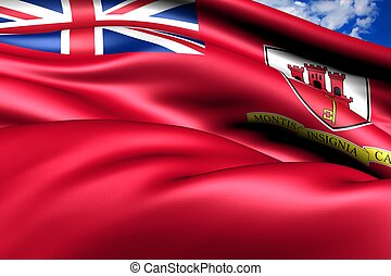Civil Ensign of Gibraltar. Close Up.