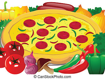 Pizza vector - Pizza with Cheese, Fresh vegetables and...