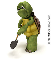 tortoise with a spade - 3D render of a tortoise with a spade...