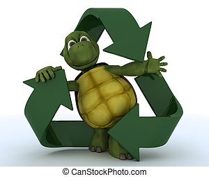 tortoise with a recycle symbol