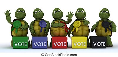 tortoises canvasing for votes in election - 3D render of...