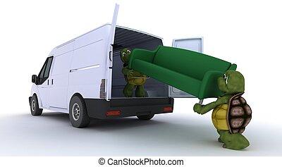 tortoises loading a sofa into a van - 3D render of a...
