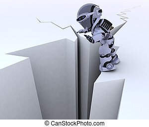 robot on a cliff edge - 3D render of a robot on a cliff edge