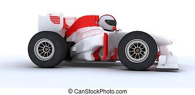 man with racing car - 3D render of a man with race car