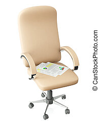3d illustration: Swivel chair on a white background