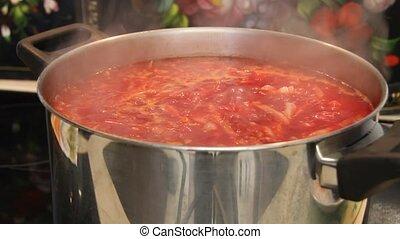 Borsch close-up. Red-beet soup - Ukrainian and russian...