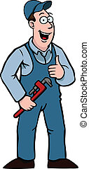 Plumber with thumbs up and wrench - Plumber in overall...