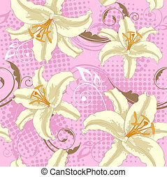 seamless with lily - Vector pink seamless pattern with white...
