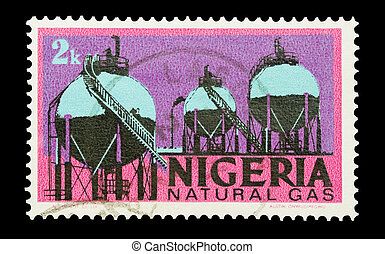 natural gas - Mail stamp printed in Nigeria featuring...