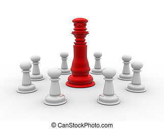 Chess pieces: king and pawns . 3d render