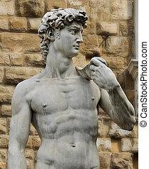 estatua, david, Florencia, Italia