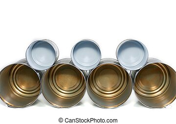 Stack of tin cans.
