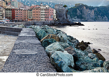 Breakwater with Huge Rocks in the Village of Camogli, Italy
