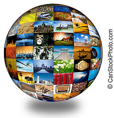 Abstract photography globe - Abstract globe with many...