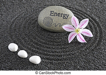 zen garden with stone of energy