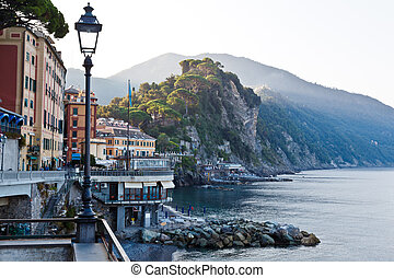 Morning at the Pebble Beach in Camogli, Italy