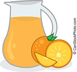 Orange Juice Pitcher - Pitcher of orange juice with oranges...