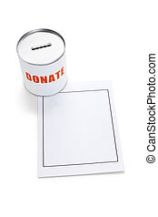 Donation Box - Blank paper and Donation Box, concept helping