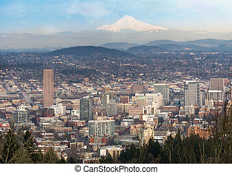 Portland Oregon Downtown Cityscape and Mt Hood - Portland...