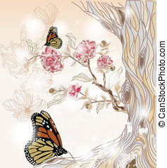 hand drawn spring scenery - artistic spring scenery with...