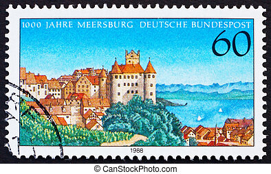 Postage stamp Germany 1988 Town of Meersburg - GERMANY -...