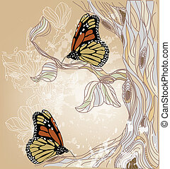 beautiful artistic spring scenery - hand drawn spring...