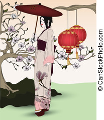 geisha walks in an oriental garden - beautiful geisha walks...