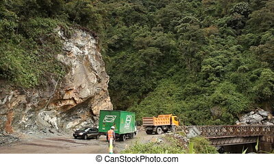 Widening a road in the Ecuadorian A