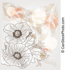 elegant background with poppies - elegant background with...