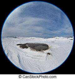 Mud Volcanoes in winter. Buzau, Romania - fisheye lens image...