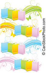 Set of banners with shopping bags - Set of banners with...