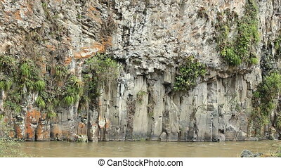 Basalt columns beside the rio Quijos, Ecuador