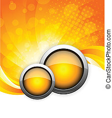 Abstract bright background with orange waves and button