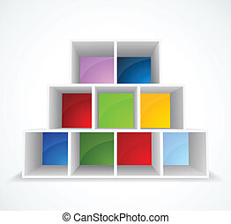 Bookshelf - White background with different color bookshelf