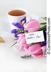 Mother's day - Tea with flowers for mom. Mother's day