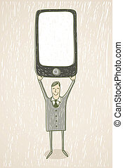 Businessman with mobile phone - Hand drawn illustration....