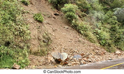 Landslide, Ecuador - landslide on a dangerous mountain road