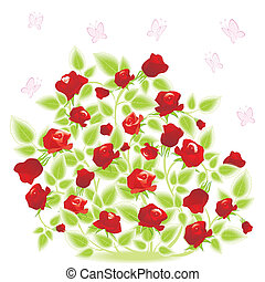 rose bush with butterfly - red rose bush with green leaves...