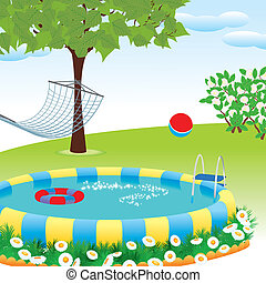 outdoor pool in the garden or park