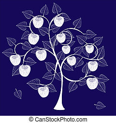 apple tree silhouette - abstract apple tree silhouette with...