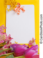 Decorative card with mimosa and tulips on white