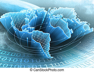 Earth Of Information - World Map interconnected by...