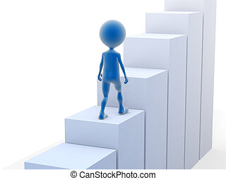 Business man climbing stairs 3d rendered illustration