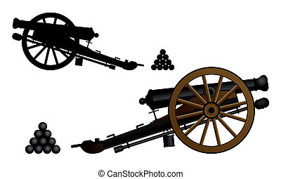 %u0421annon - Ancient cannon on the gun carriage. Vector...
