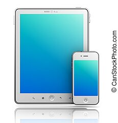Ipade - Like Tablet PC and Smartphone on White Background, 3D Render.