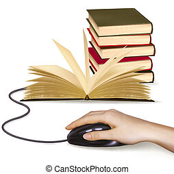 Hand with computer mouse and books Vector illustration