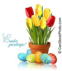 Fresh spring flower with Easter egg