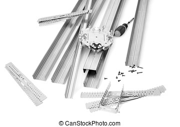 Components and fixture for installation of gypsum panels on...