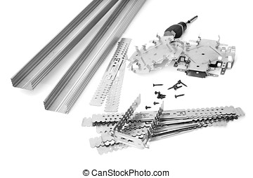 Many components for installation of gypsum panels on the...